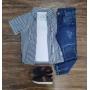 Camisa Listrada mais Camiseta com Calça Infantil