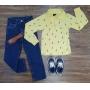 Camisa Polo Raio com Calça Infantil