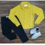 Camisa Social Amarela com Calça Jeans Preta Infantil