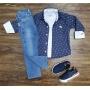 Camisa Social Manga Longa com Camiseta e Calça Infantil
