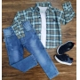 Camisa Xadrez com Camiseta e Calça Jeans Infantil