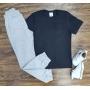 Camiseta Básica Preta Com Calça Moletom Infantil