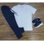 Camiseta Básica Branca Com Calça Moletom Infantil