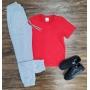 Camiseta Básica Vermelha Com Calça Moletom Infantil