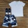 Camiseta Branca com Bermuda Camuflada Azul Infantil