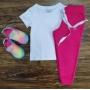 Camiseta Branca com Calça de Moletom Rosa Infantil