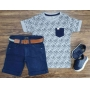 Camiseta Coqueiro Cinza com Bermuda Jeans Infantil