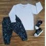 Camiseta Manga Longa Branca com Calça Infantil