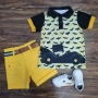 Conjunto Bermuda Amarela com Polo Batman Infantil