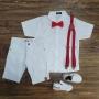 Conjunto Branco Bermuda Batizado Vermelho Infantil