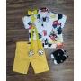 Conjunto Mickey Com Suspensório e Gravata Amarelo Infantil