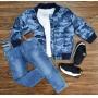 Jaqueta Azul Camuflada Com Camiseta e Calça Jeans Infantil