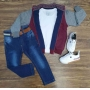 Jaqueta Explorer Com Camiseta Branca e Calça Jeans Infantil