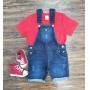 Jardineira Jeans com Camiseta Infantil