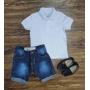 Polo Branca Manga Curta com Bermuda Jeans Infantil