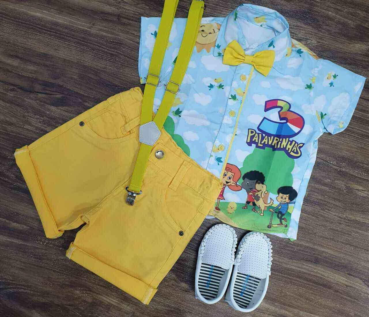Bermuda Amarela com Camisa 3 Palavrinhas Infantil