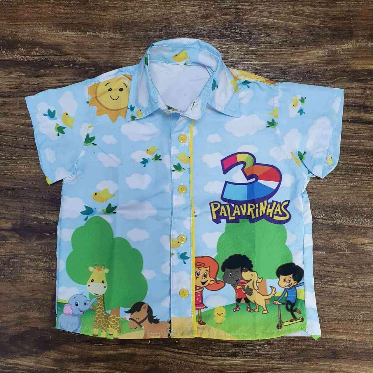 Conjunto 3 Palavrinhas com Camisa mais Bermuda Infantil