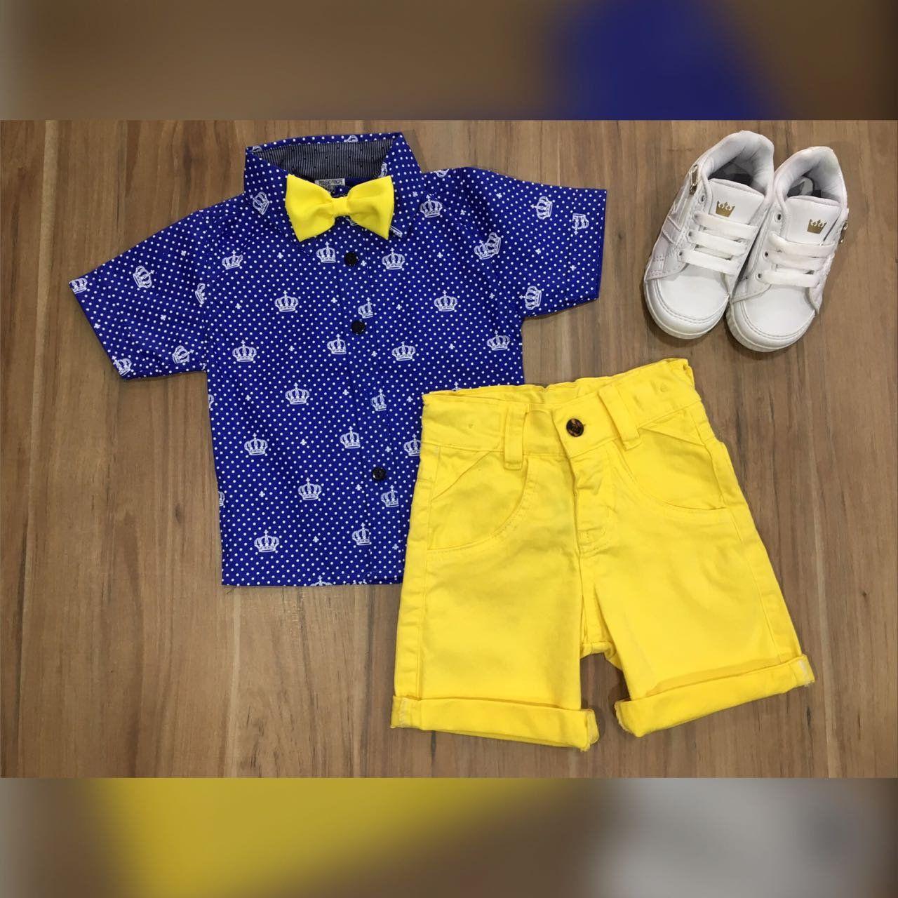 Bermuda Amarela com Camisa Coroa Azul mais Gravata