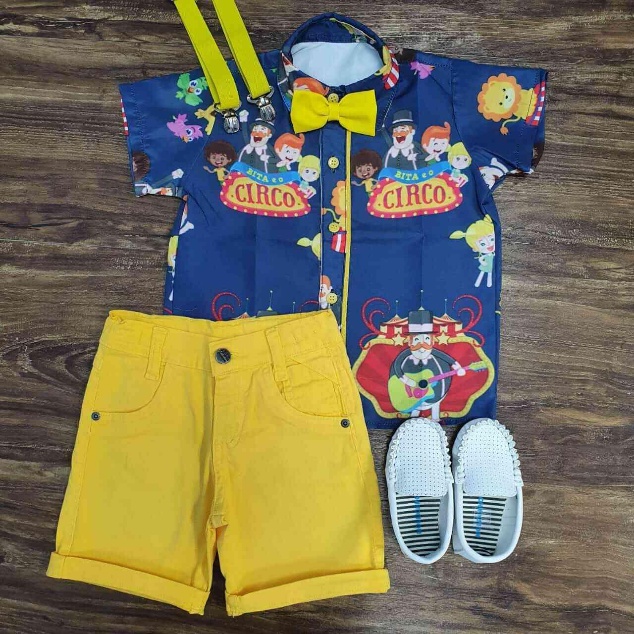 Bermuda Amarela com Camisa Mundo Bita Circo Infantil