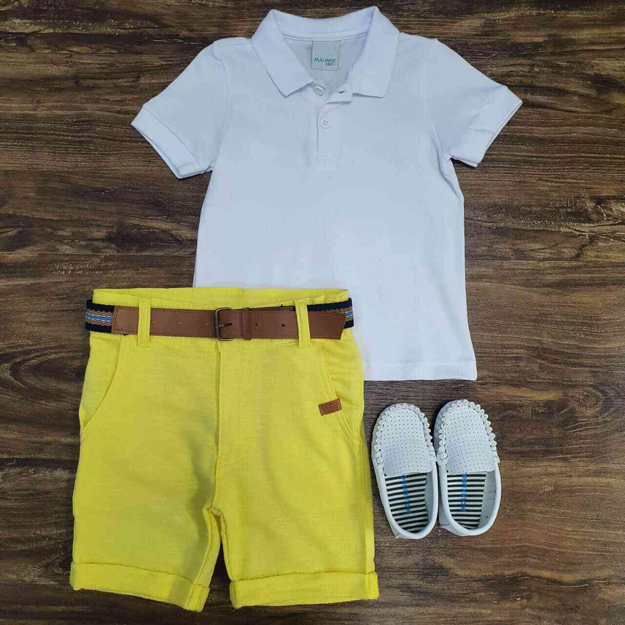 Bermuda Amarela com Camisa Polo Branca Infantil