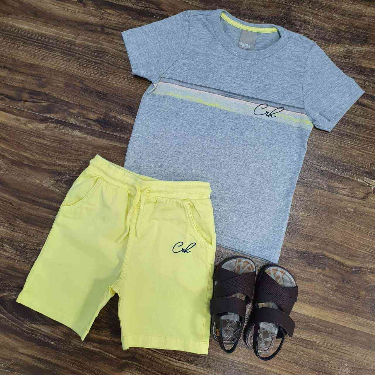 Bermuda Amarela com Camiseta Cinza CRH Infantil
