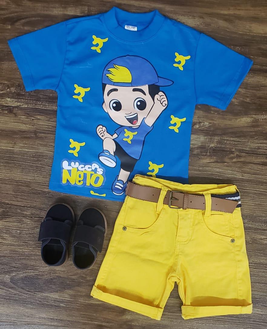 Bermuda Amarela com Camiseta Lucas Neto