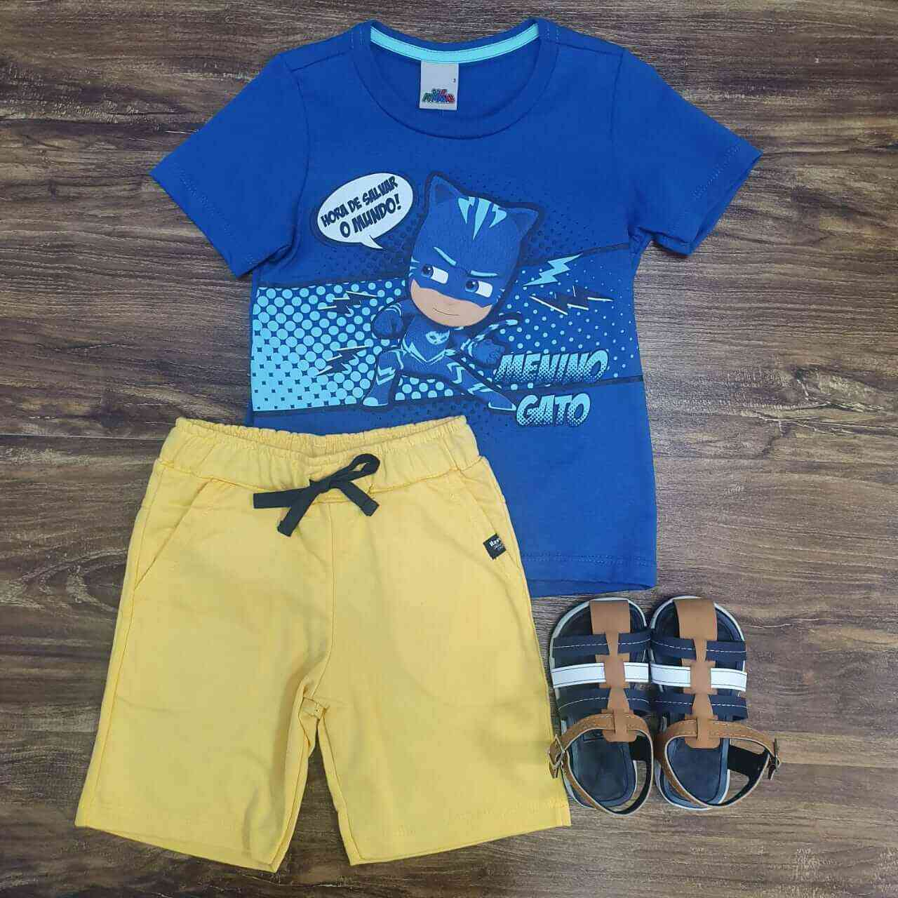Bermuda Amarela com Camiseta Pj Masks Azul Infantil