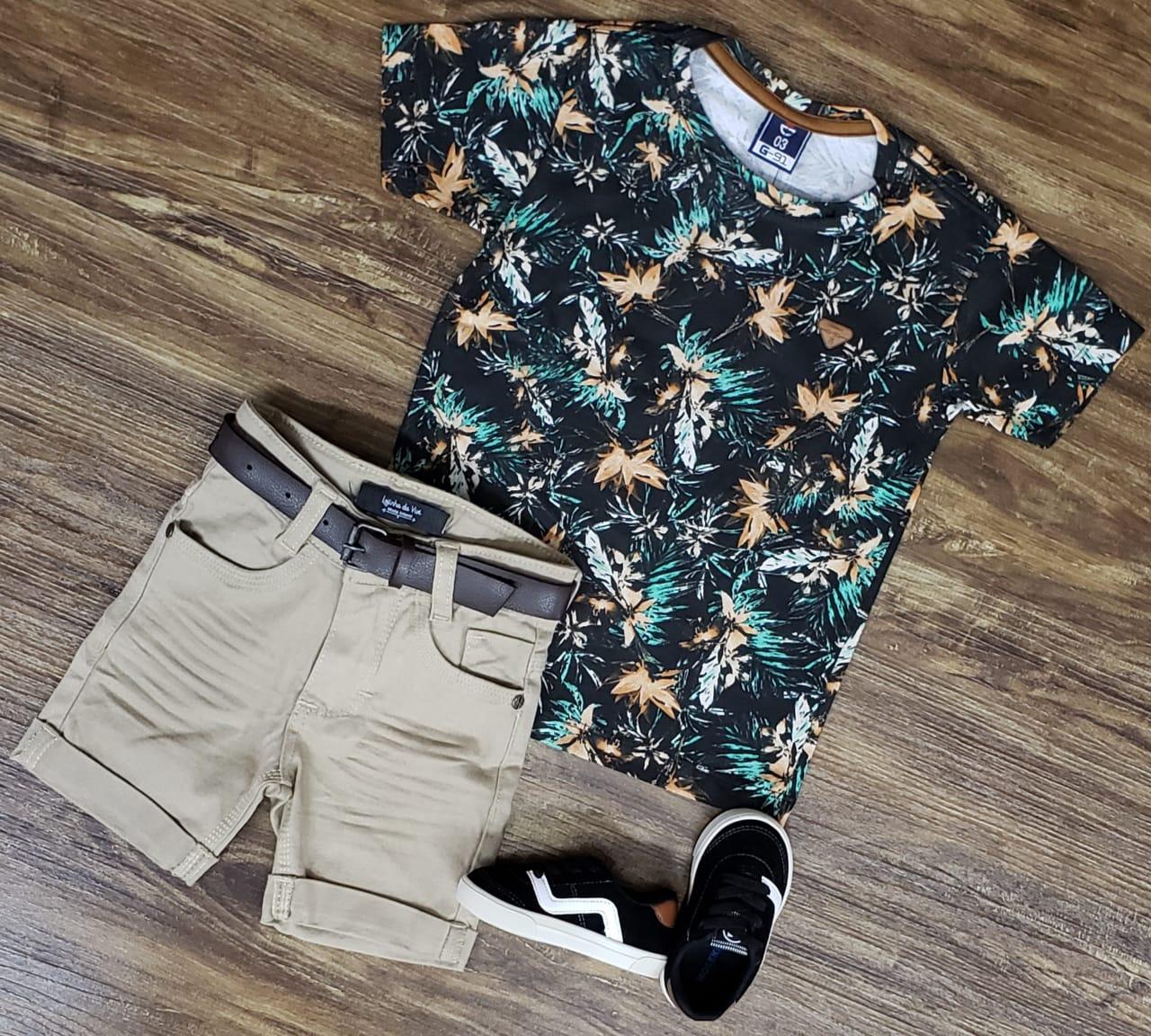 Bermuda Areia com Camiseta Floral Infantil