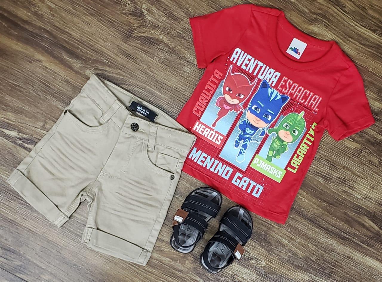 Bermuda Areia com Camiseta PJ Masks Vermelha