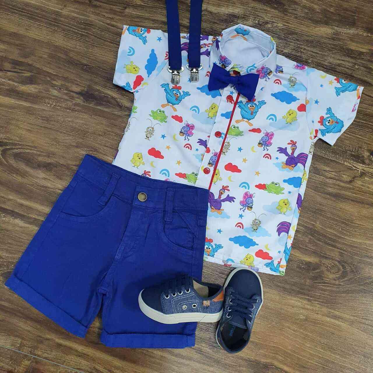 Bermuda Azul com Camisa Galinha Pintadinha Infantil