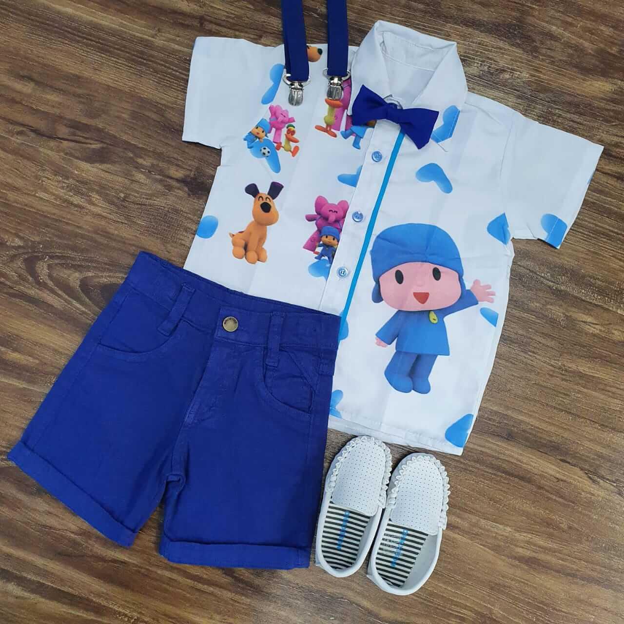 Bermuda Azul com Camisa Pocoyo Infantil