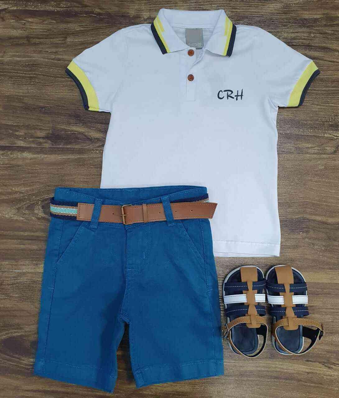 Bermuda Azul com Camisa Polo Branca Infantil