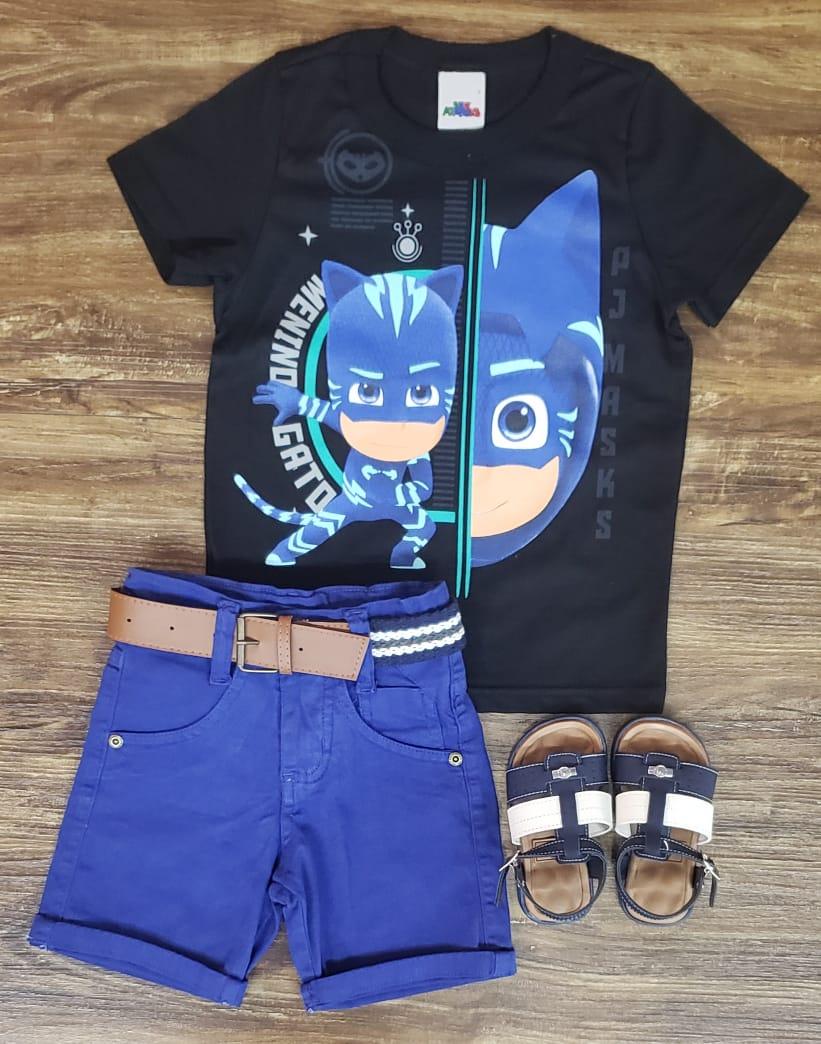 Bermuda Azul com Camiseta PJ Masks Preta