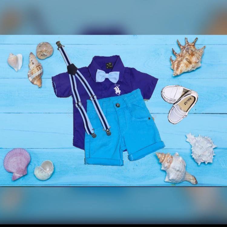 Bermuda Azul com Suspensório e Camisa Azul com Gravata - Look Fundo do Mar