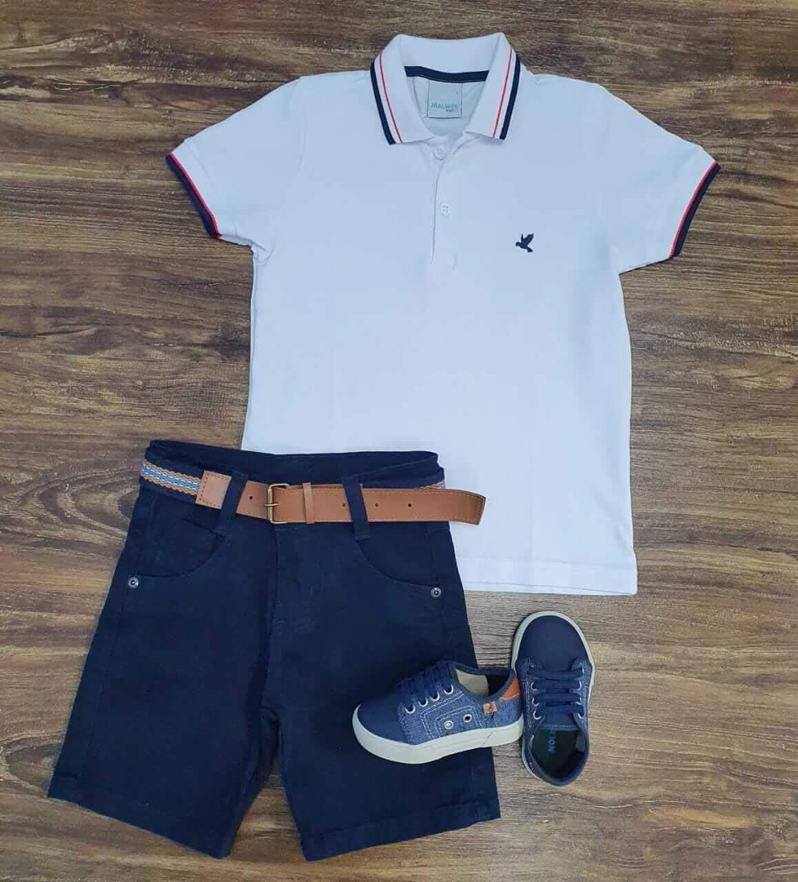 Bermuda Azul Marinho com Camisa Polo Branca Infantil