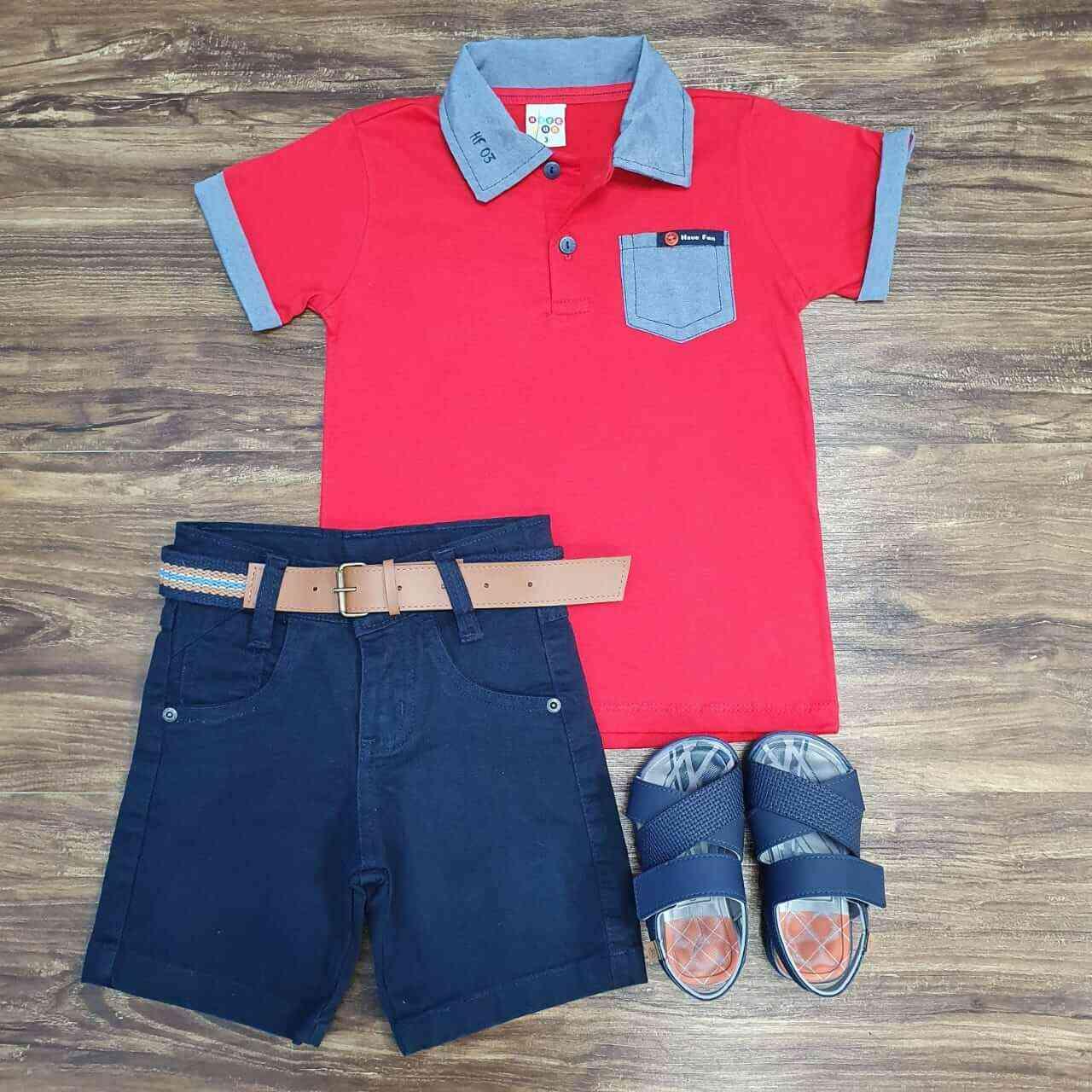 Bermuda Azul Marinho com Camisa Polo com Bolso Vermelha Infantil