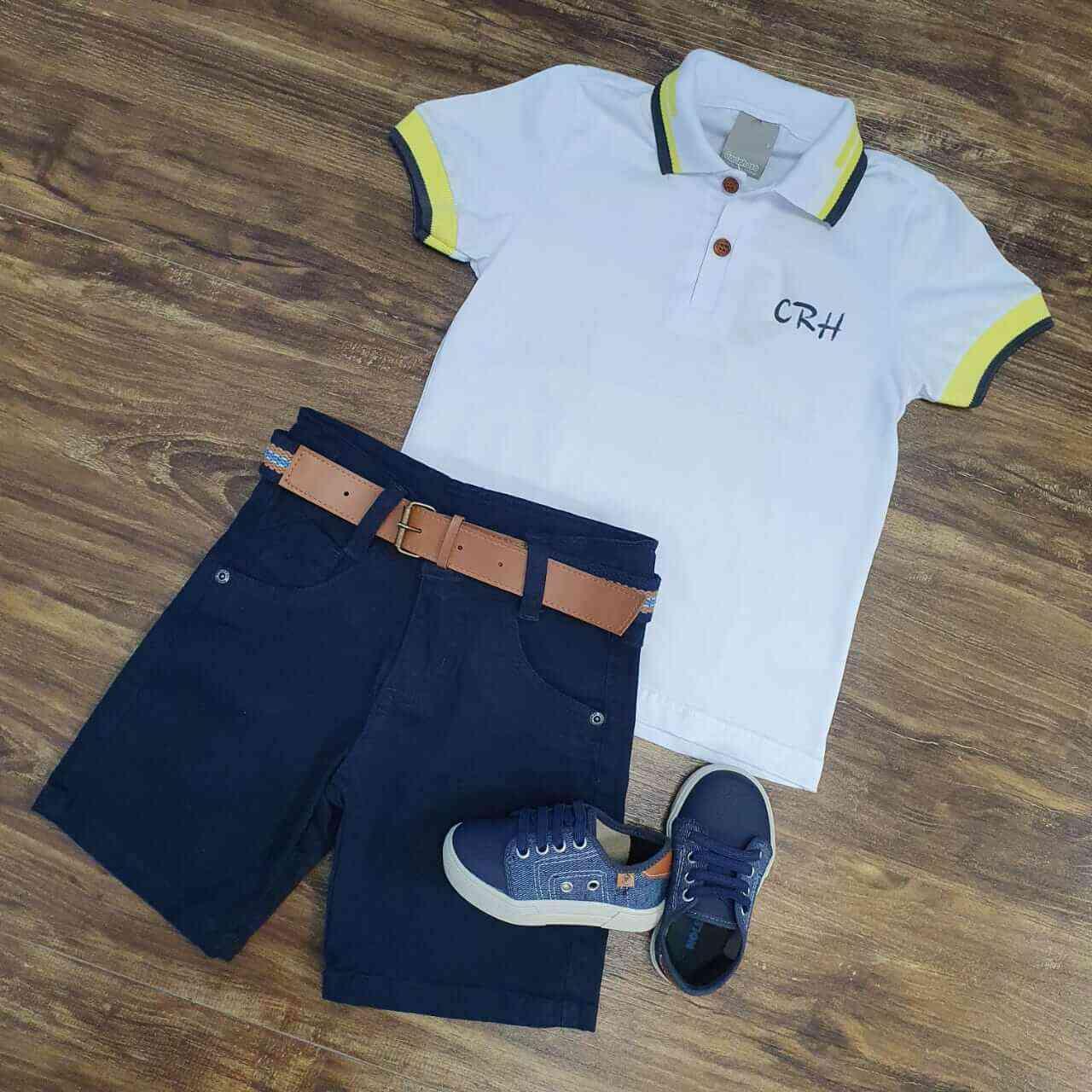 Bermuda Azul Marinho com Camisa Polo CRH Infantil