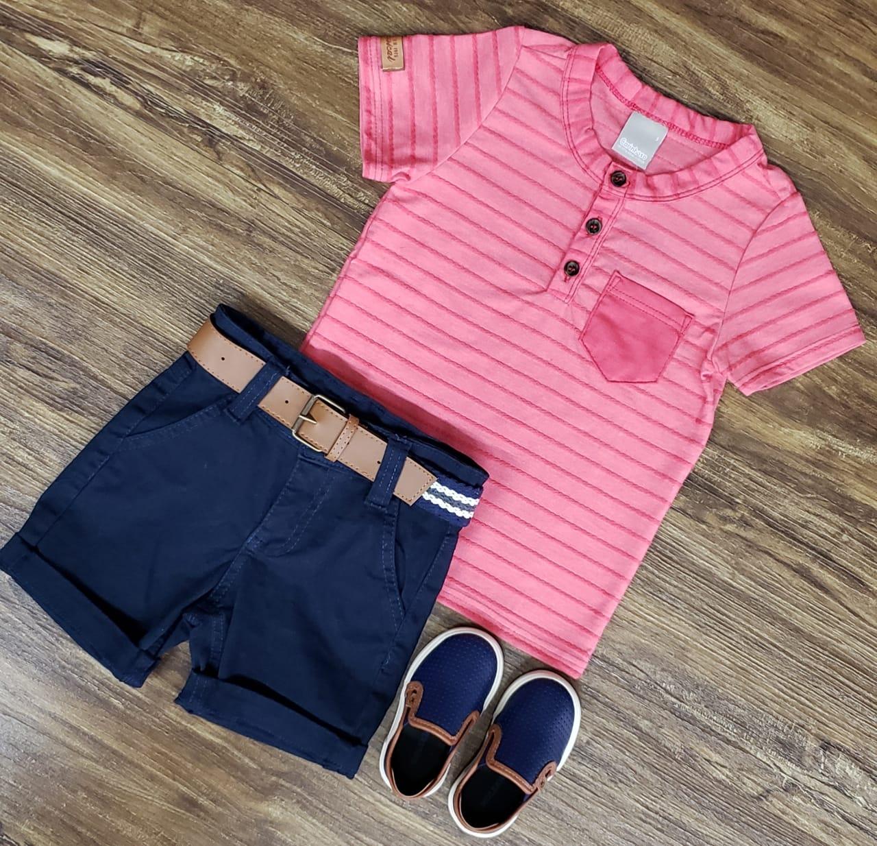 Bermuda Azul Marinho com Camiseta Bata Rosa Infantil