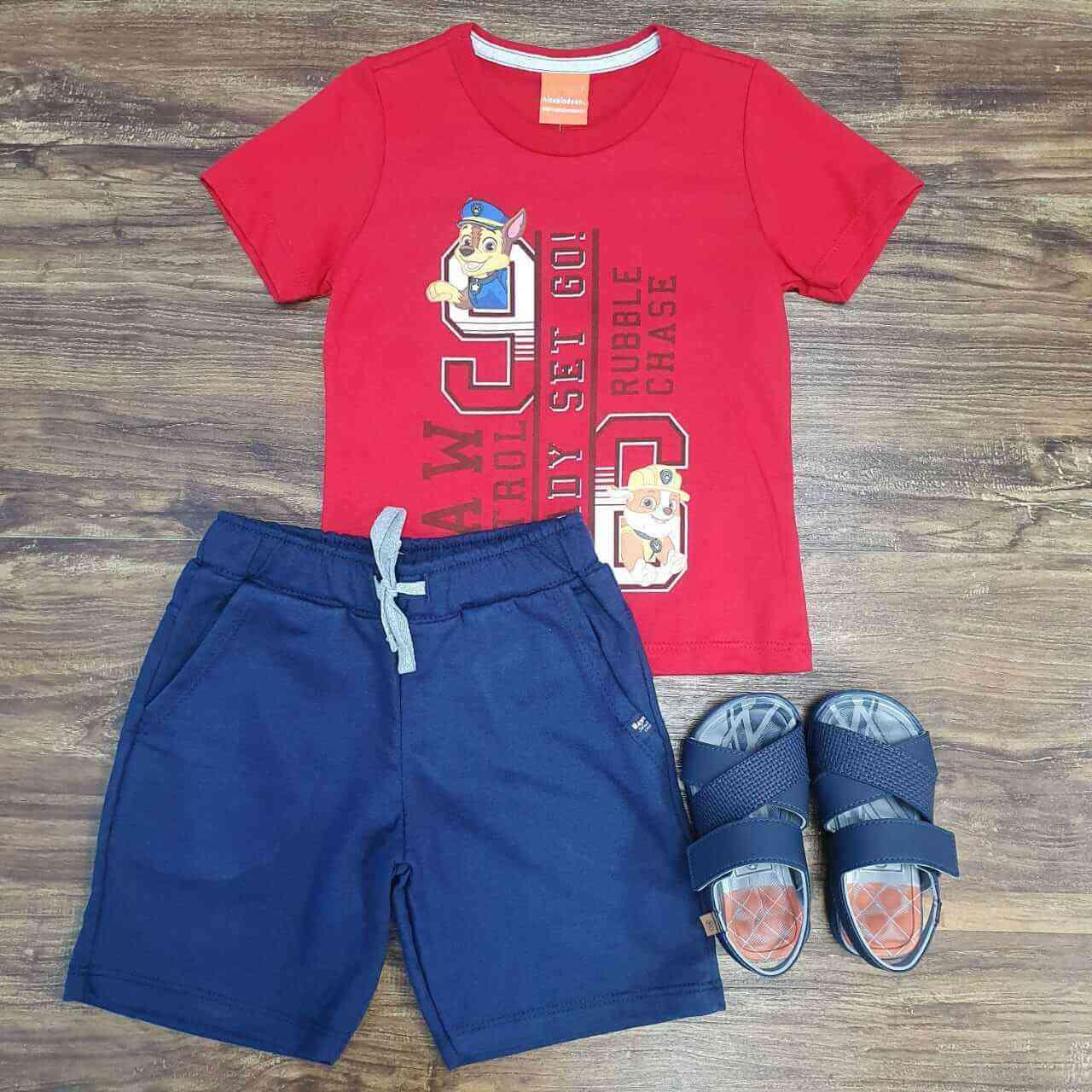 Bermuda Azul Marinho com Camiseta Patrulha Canina Infantil