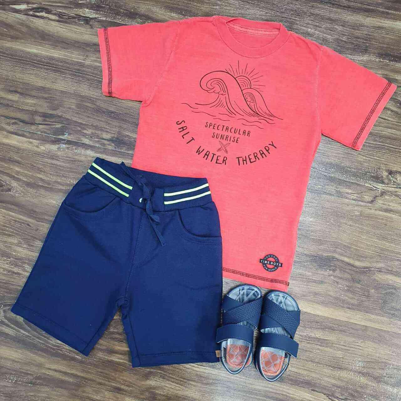 Bermuda Azul Marinho com Camiseta Salt Laranja Infantil