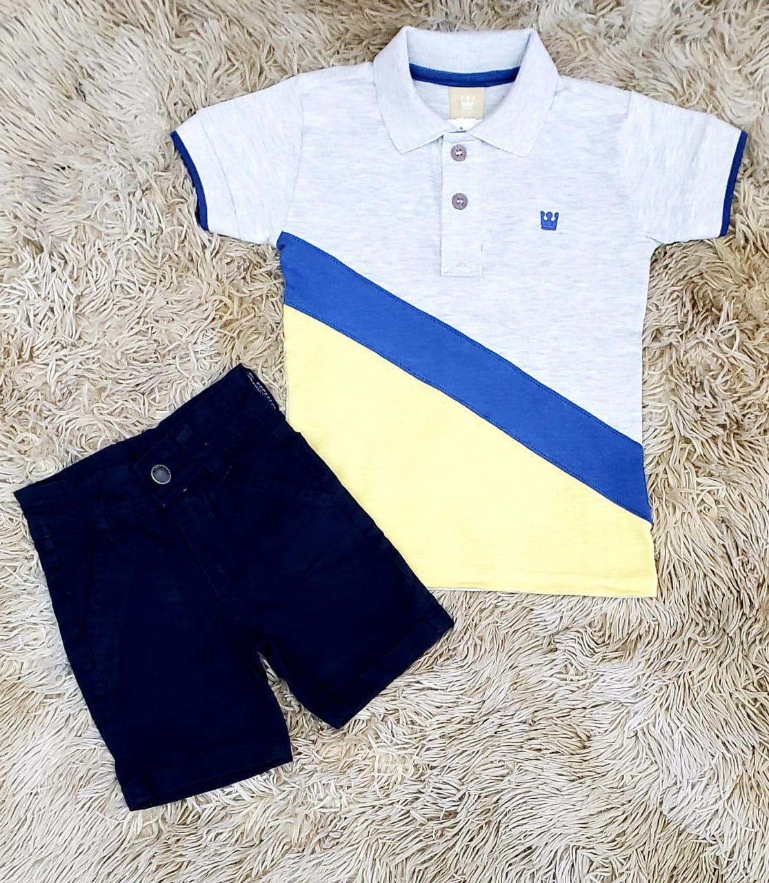 Bermuda Azul Marinho com Polo Exclusive Amarela