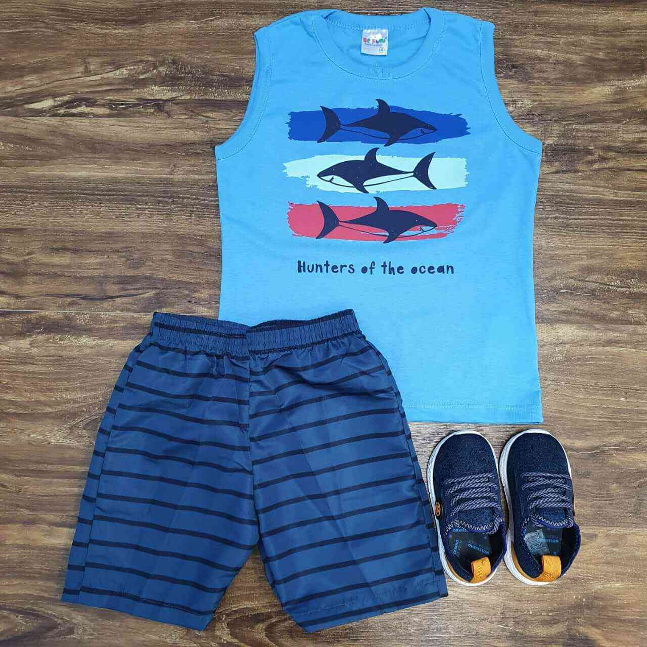 Bermuda Azul Marinho com Regata Azul Infantil