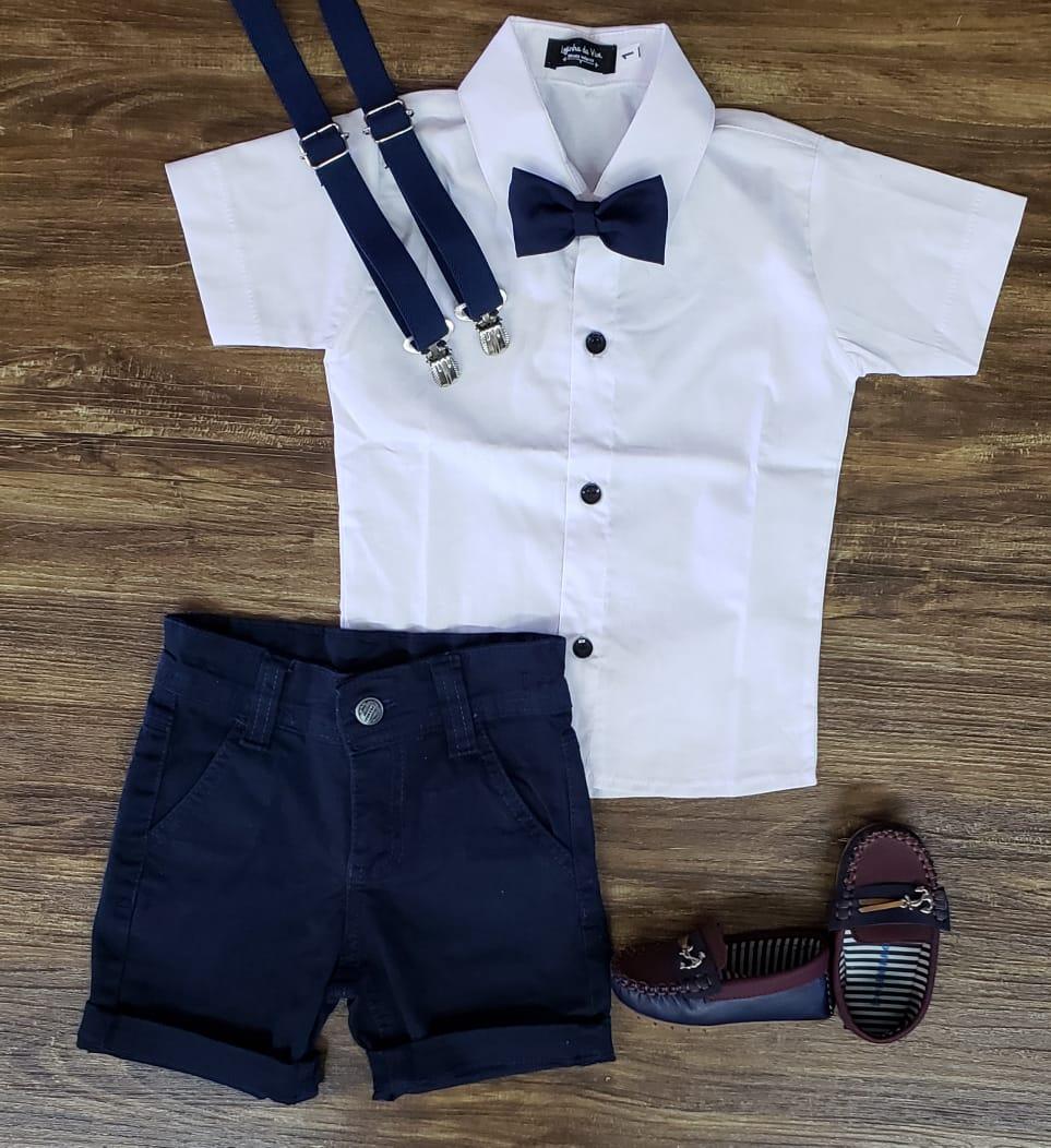 Bermuda Azul Marinho com Suspensório e Camisa com Gravata