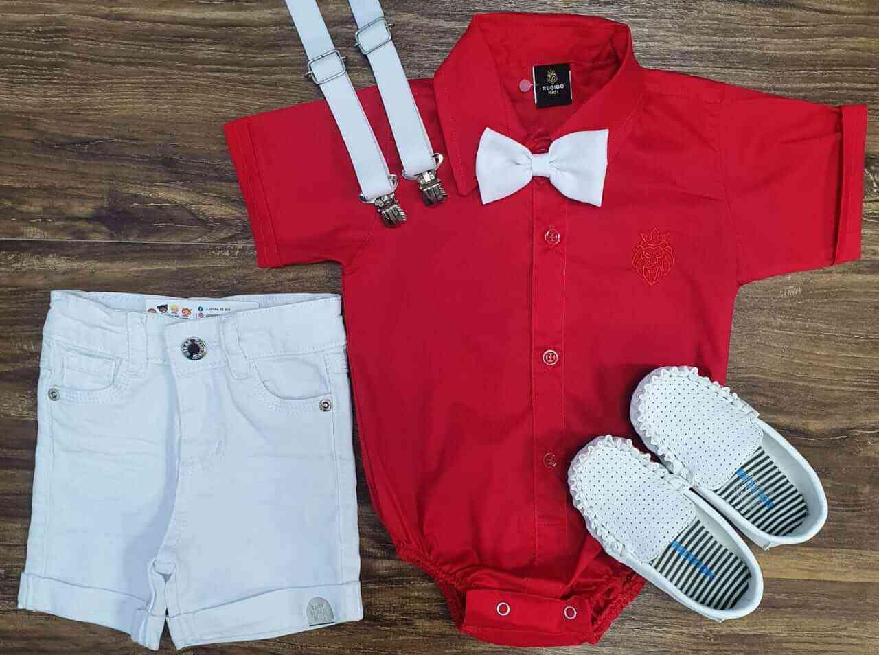 Bermuda Branca com Boby Vermelho Infantil