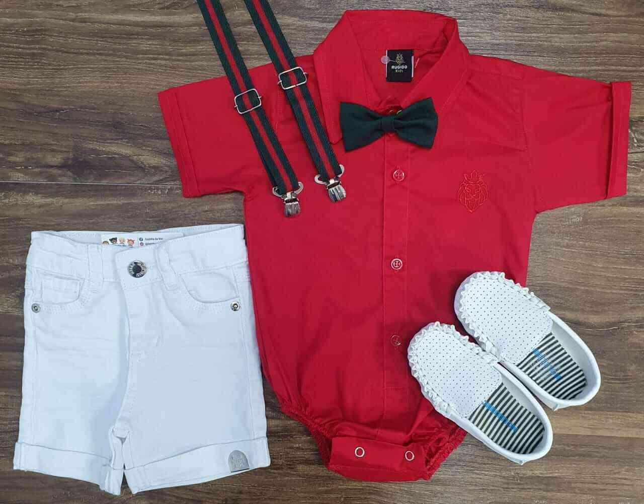 Bermuda Branca com Body Vermelho Infantil Menino