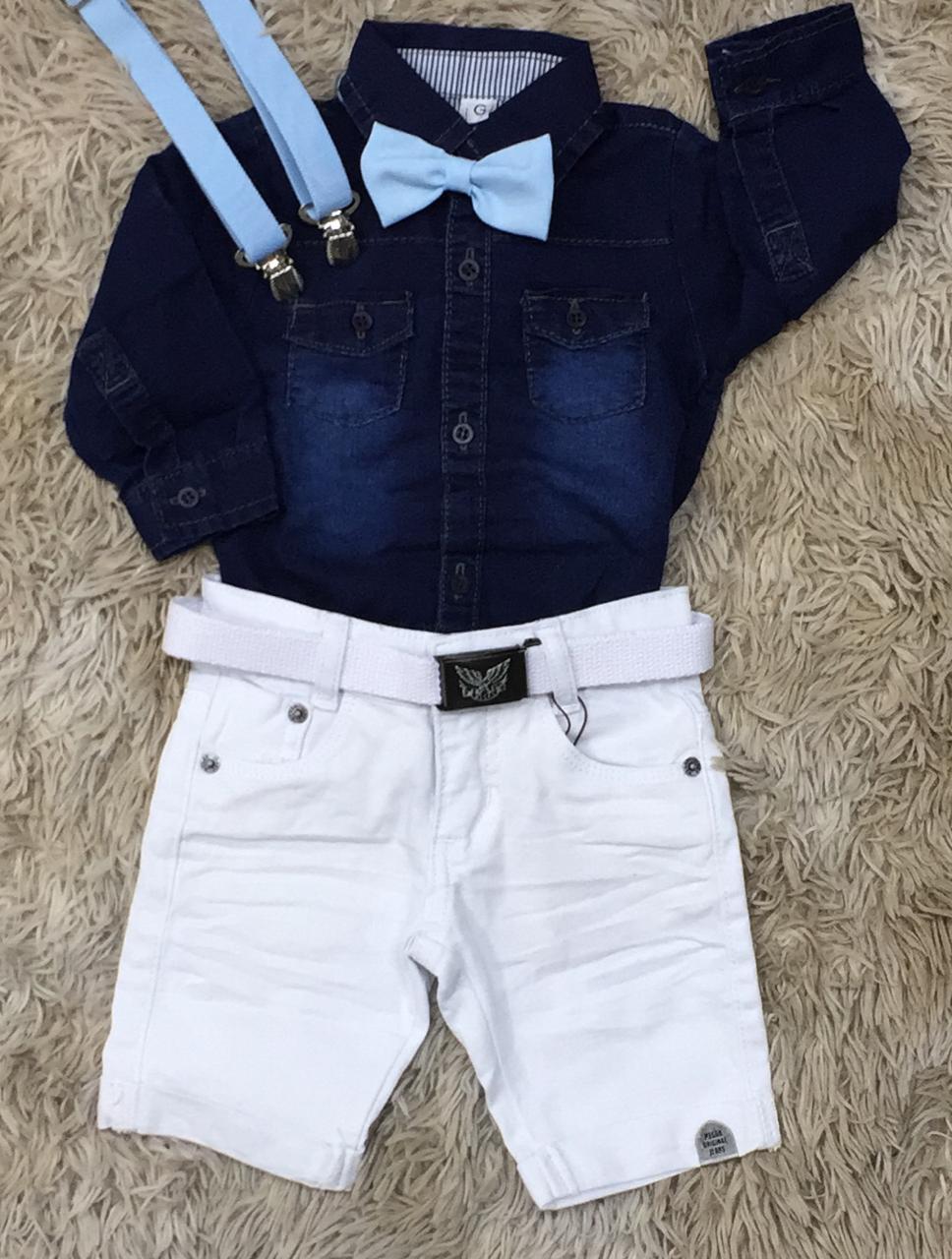 Bermuda Branca com Body Jeans Mais Suspensório e Gravata