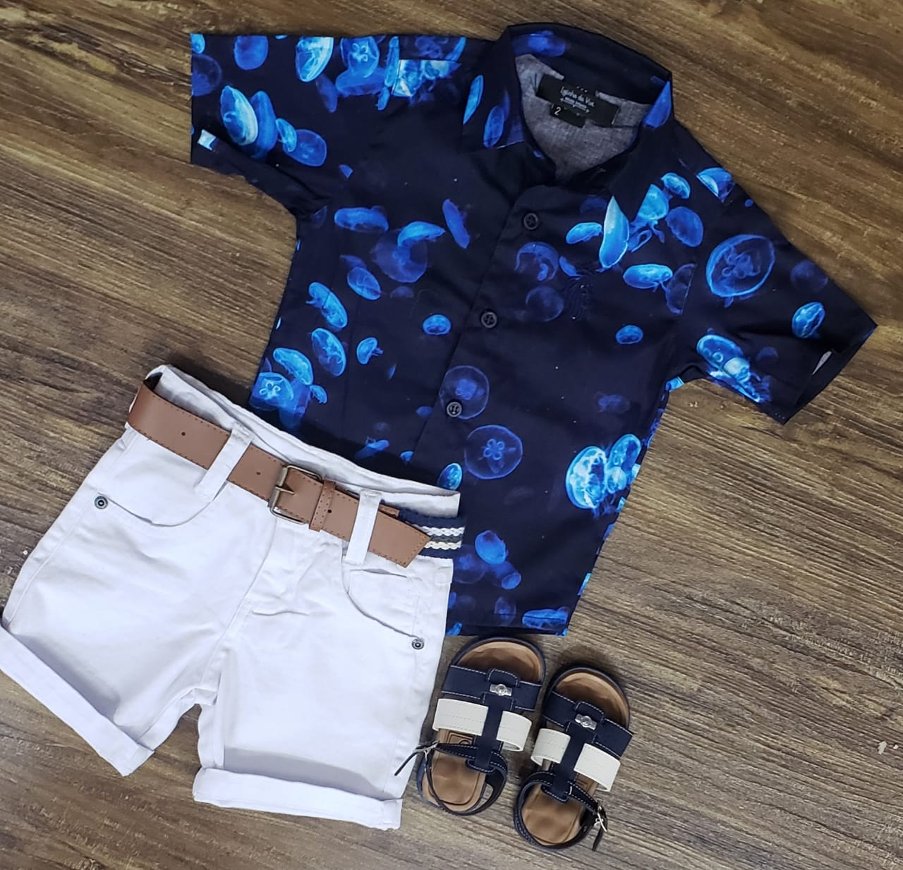 Bermuda Branca com Camisa Água Viva