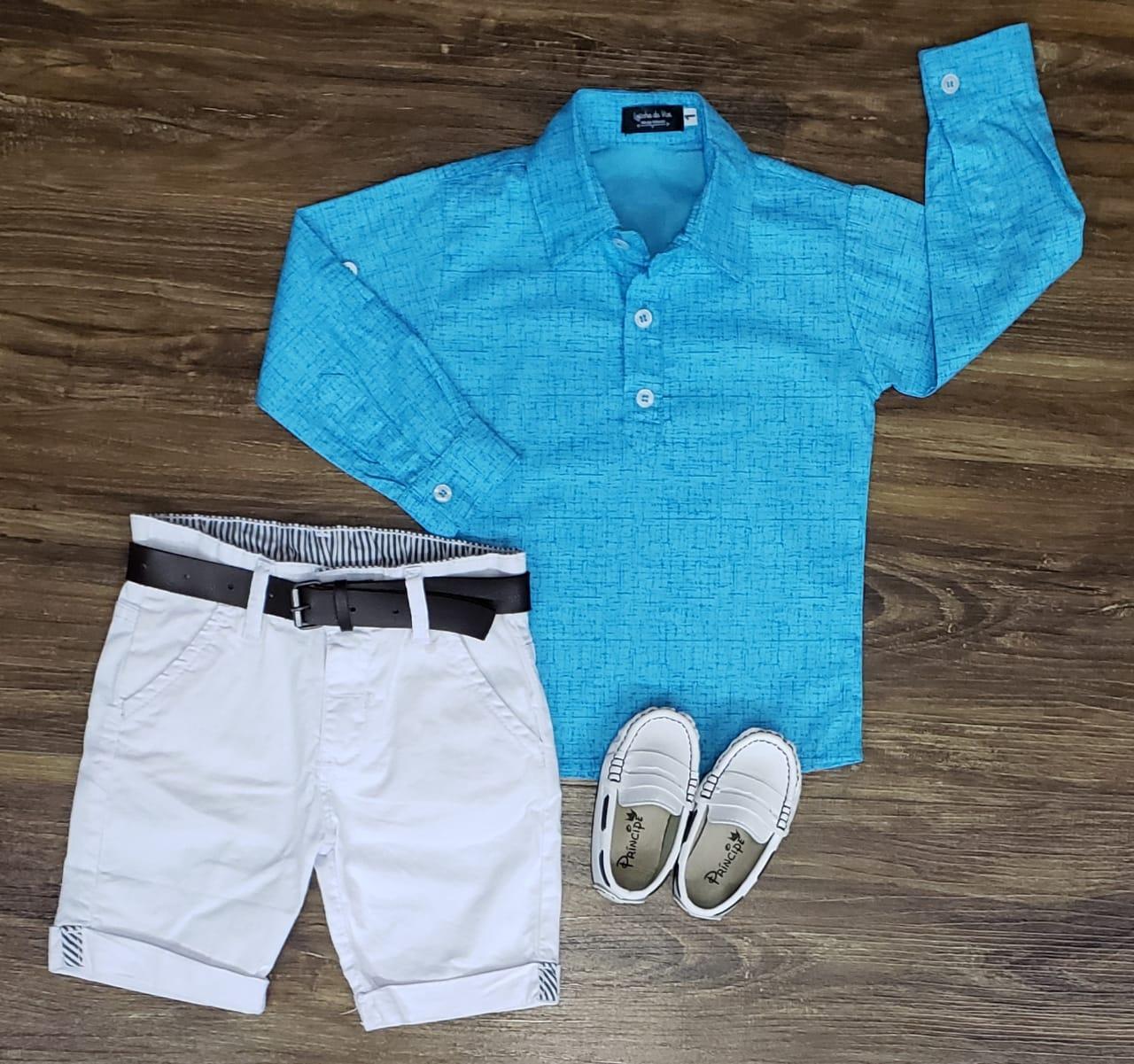 Bermuda Branca com Camisa Bata