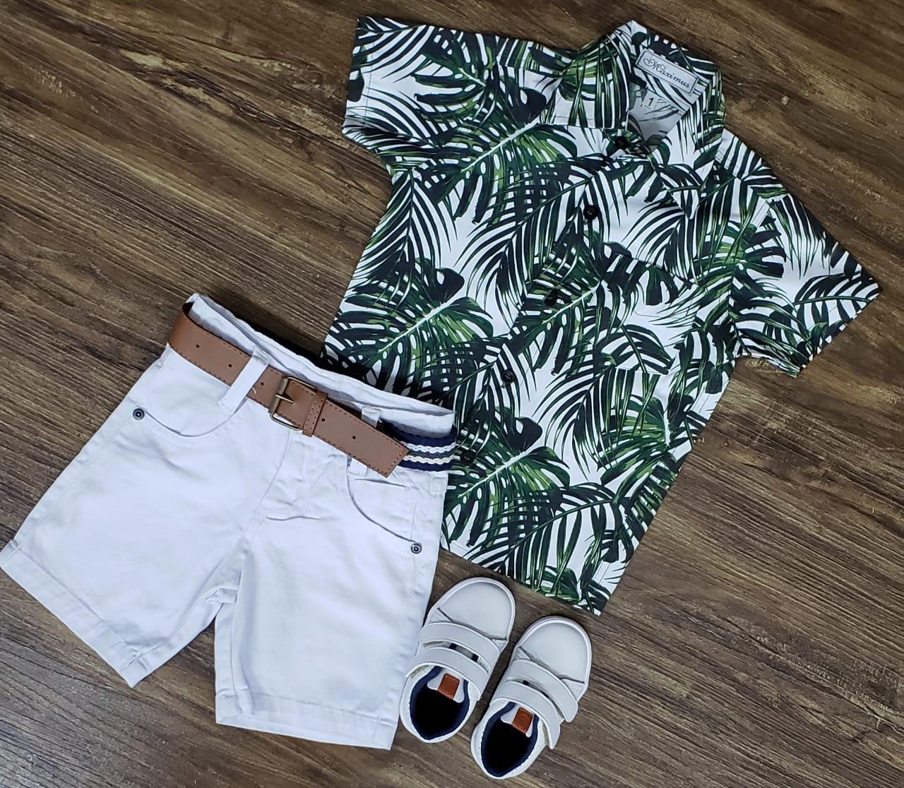 Bermuda Branca com Camisa Floral Infantil