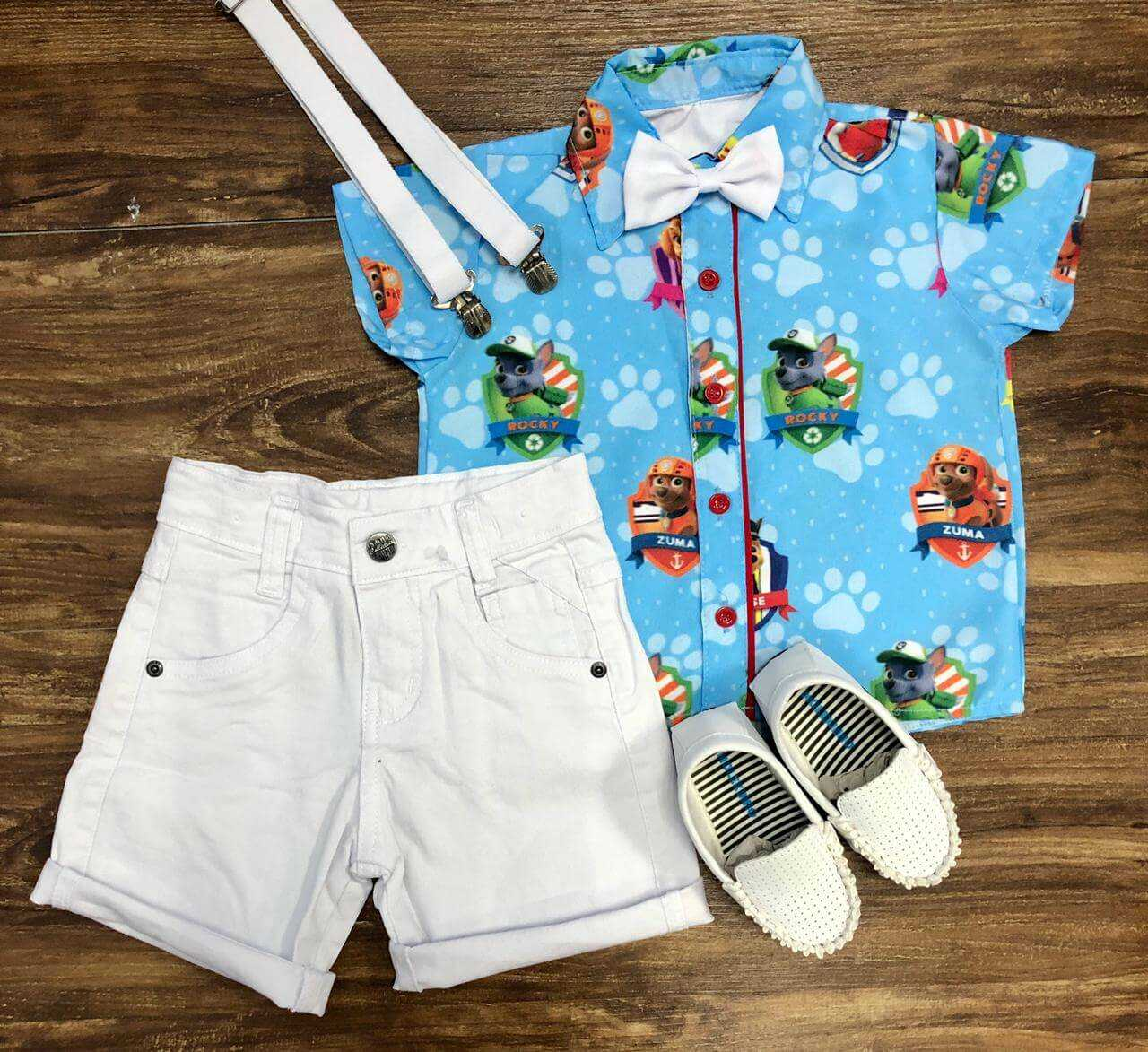 Bermuda Branca com Camisa Patrulha Canina Infantil